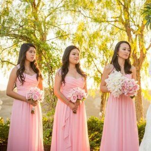 Alfred Angelo Pink Tea Rose Maxi Bridesmaid Dress
